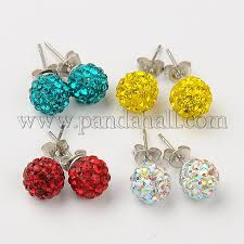polymer clay stud earrings wholesale polymer clay rhinestone stud earrings with brass