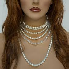 pearl crystal statement necklace images Multi strand pearl bridal necklace statement jewelry jpg