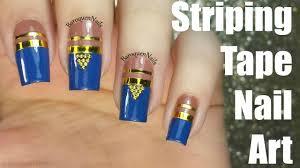 nail art tutorial blue and brown nails striping tape nail art
