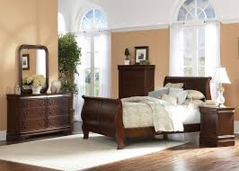 Sleigh Bedroom Furniture Philippe Sleigh Bed 6 Bedroom Set In Brown Cherry Finish By