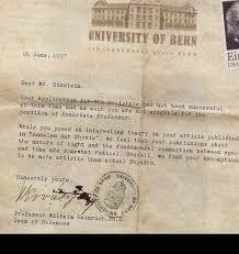 albert einstein rejection letter