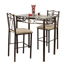 Glass Top Dining Table And Chairs Amazon Com Home Source Industries Crown Bistro 3 Piece Dining Set