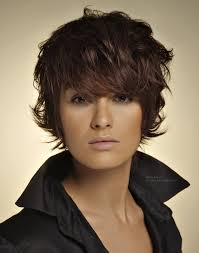 short hairstyles with a lot of layers short hair up from the collar with the sides covering the ears