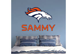 Denver Broncos Stacked Personalized Name Wall Decal