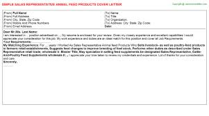 sales representative animal feed products cover letter