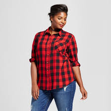 women u0027s plus size button down plaid shirt ava u0026 viv red target