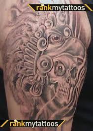 dangerous aztec skull tattoo design photos pictures and