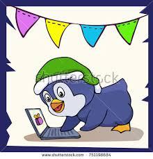cute penguin elf isolated on white stock vector 751198684