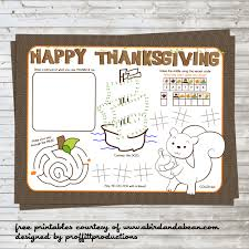 free printable thanksgiving placemat for the