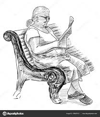sketch of an old woman reading a newspaper u2014 stock photo
