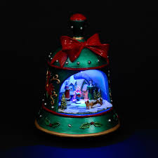 light up bell with moving carol singer ornament next