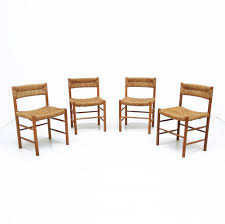 set 4 dordogne dinner chairs by charlotte perriand for sentou