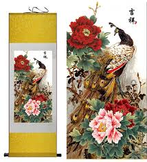 Chinese Art Design Chinese Art Scroll Painting Peacock Design 100 X 30cm