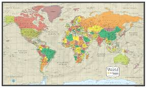 Map Of Oceans Smithsonian Journeys World Wall Map Tan Ocean Special Edition