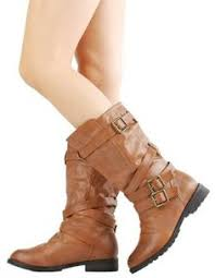 ladies brown biker boots d6z womens ladies sock fashion buckle ice biker trendy flat mid calf