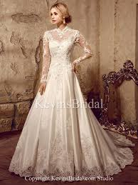 wedding poofy dresses satin gown applique high neck sleeve a line poofy