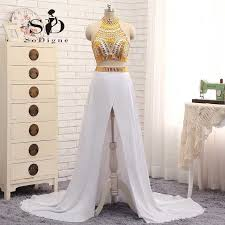 aliexpress buy new arrival hight quality white gold prom graduation dresses gold and white party dresses two pieces side