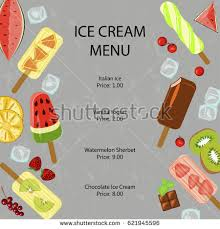 restaurant menu template popsicles berries fruits stock vector