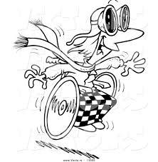 vector of a cartoon handicap person racing downhill on a
