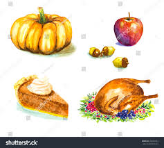 thanksgiving day set roasted turkey grape stock vector 296057423