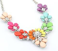 statement necklace store images Rainbow statement necklace in colorful baubles and rhinestones jpg