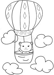 hand drawn sketch of a bear in a air balloon stock