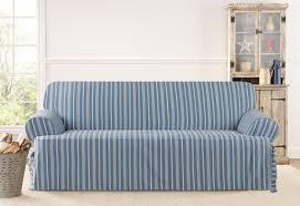 sofa cover t cushion blue on blue on white stripe sure fit slipcovers grain sack