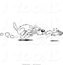 vector clip art of a black and white dog chasing a squirrel by