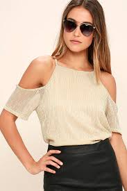 shoulder blouse gold top the shoulder top sleeve top 34 00