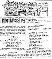 fashioned thanksgiving recipes in the newspaper