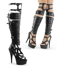 s boots black heels harness platform knee