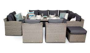 Grand Chelsea Rattan Sofa Dining Set Whitewash - Rattan outdoor sofas