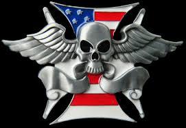 American Flag Skull Human Skull Wings Usa Flag Crossbone Belt Buckle Boucle Ceinture