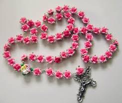 catholic rosary necklace so beautiful handmade shocking pink soft cerami rosary