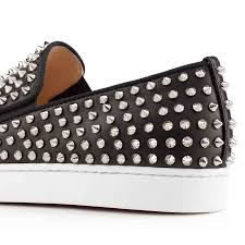 classic christian louboutin roller boat silver spikes black