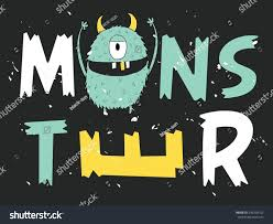monster face typography design tshirt graphics stock vector