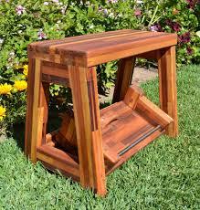 folding two step wood stool custom wood finish u0026 height