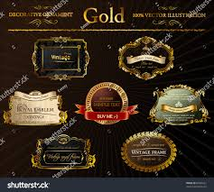 gold vintage frames ornament calligraphic elements stock vector