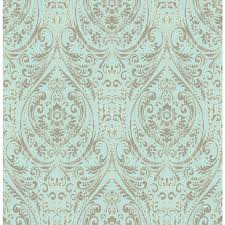 Stick And Peel Wallpaper by Shop Nuwallpaper Peel And Stick Wallpaper Turquoise Vinyl Floral