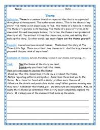 themes for my story discovering the theme worksheet for any novel by teach by heart