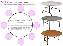 5 foot round table wonderful what size tablecloth for 5ft round table