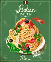 affiche cuisine vintage pasta spaghetti with sauce restaurant menu poster in
