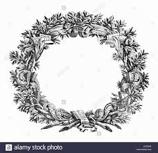 ornamental frame like a wreath with books scrolls ribbons and