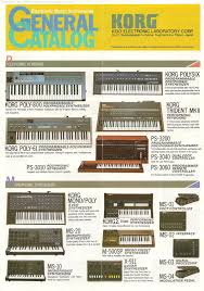 retro synth ads korg electronic music instruments general catalog