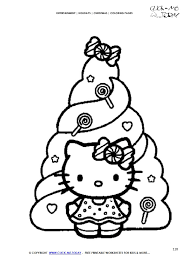 Color Hello Kitty With Xmas Tree Coloring Page Christmas 120 Hello Tree Coloring Page
