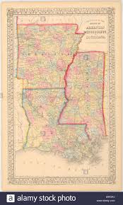 Louisiana State Map by County Map Of The State Of Arkansas Mississippi And Louisiana