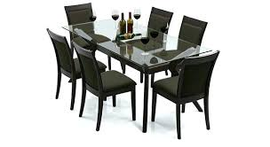 glass top dining table set 6 chairs glass dining room table and chairs space gold and black glass