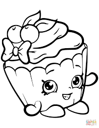 cherry nice cupcake shopkin coloring page free printable