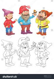 snow white dwarfs fairy tale stock illustration 360484961