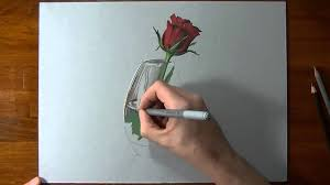 flower in vase drawing drawing time lapse a red rose in glass vase youtube